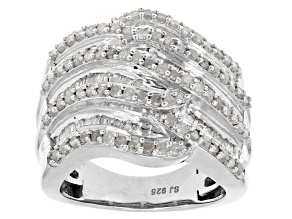 Rhodium Over Sterling Silver Diamond Ring 1.60ctw