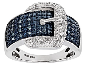 Blue And White Diamond Rhodium Over Sterling Silver Ring .30ctw