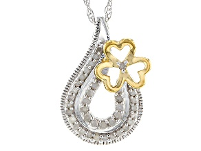 Diamond Rhodium And 14k Yellow Gold Over Sterling Silver Pendant .22ctw
