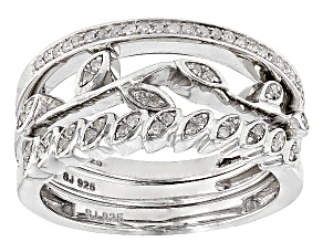 Rhodium Over Sterling Silver Diamond Ring .20ctw