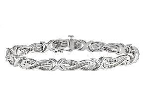 Rhodium Over Sterling Silver Diamond Bracelet .95ctw
