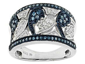 Rhodium Over Sterling Silver Blue And White Diamond Ring .38ctw