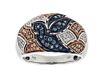 Picture of Blue, Champagne And White Diamond Rhodium Over Sterling Silver Ring .40ctw