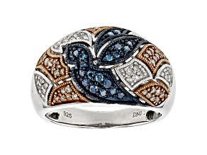 Rhodium Over Sterling Silver Blue Champagne And White Rhodium Settings .40ctw