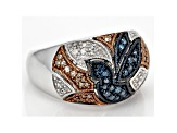 Blue, Champagne And White Diamond Rhodium Over Sterling Silver Ring .40ctw