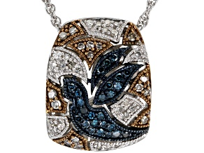 Blue, Champagne and White Diamond Rhodium over Sterling Silver Pendant .33ctw
