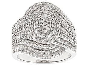 Rhodium Over Sterling Silver Diamond Ring 1.63ctw