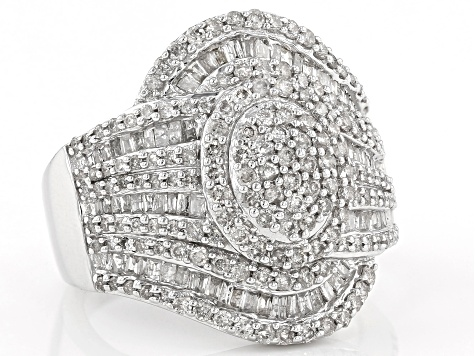 Rhodium Over Sterling Silver Diamond Ring 1.63ctw