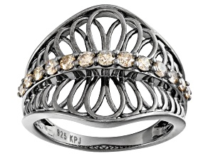 Rhodium Over Sterling Silver Champagne Diamond Ring .50ctw