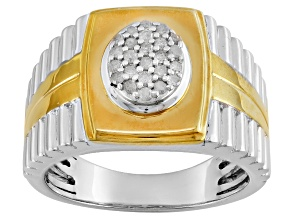 Rhodium And 14k Yellow Gold Over Sterling Silver Diamond Ring .25ctw