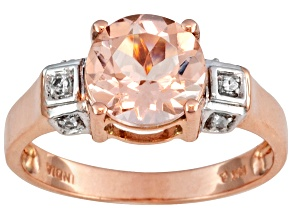Morganite And White Zircon 10kt Rose Gold Ring