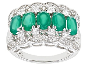 Green Onyx Rhodium Over Sterling Silver Band Ring 1.97ctw