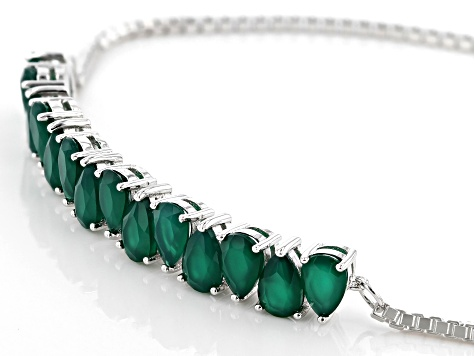 Green Onyx Rhodium Over Silver Bolo Bracelet