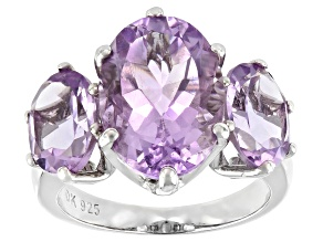 Purple Amethyst Rhodium Over Sterling Silver 3-Stone Ring 6.93ctw