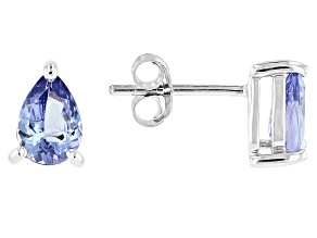 Blue Tanzanite Rhodium Over Sterling Silver Stud Earrings
