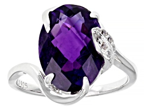 Purple Amethyst Sterling Silver Ring 4.97ctw
