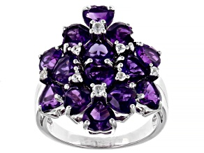 Purple Amethyst Rhodium Over Sterling Silver Ring 5.68ctw