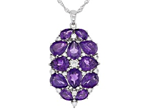 Purple Amethyst Rhodium Over Silver Pendant With Chain 9.02ctw