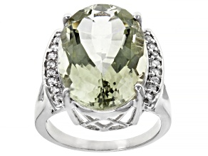 Green Prasiolite rhodium over sterling silver ring 9.27ctw