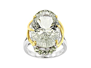 Green Prasiolite Rhodium & 18k Gold Over Silver Two-Tone Ring 10.99ctw