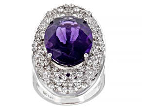 Purple African Amethyst Rhodium Over Sterling Silver Ring 11.01ctw
