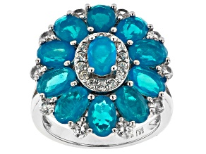 Blue Opal Rhodium Over Silver Ring 4.11ctw