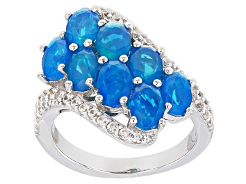 Picture of Oval Paraiba Blue Color Opal With Round White Zircon Rhodium Over Sterling Silver Ring 2.78ctw
