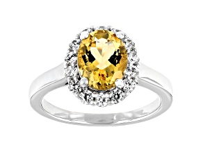 Yellow Beryl With Round White Zircon Rhodium Over Sterling Silver 2.06ctw