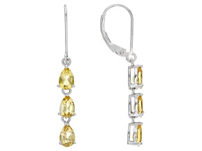 Yellow Beryl Rhodium Over Sterling Silver Dangle Earrings 1.89ctw