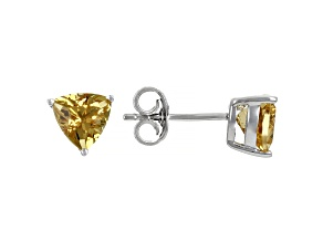 Yellow Beryl Rhodium Over Sterling Silver Solitaire Stud Earrings 1.05ctw