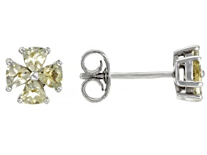 Yellow Beryl Rhodium Over Sterling Silver Stud Earrings .61ctw