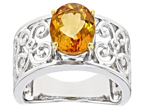 Yellow Citrine Rhodium Over Sterling Silver Solitaire Ring 1.96ct