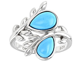 Blue Sleeping Beauty Turquoise Rhodium Over Bypass Ring