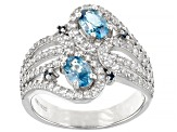 Blue Zircon Rhodium Over Sterling Silver Ring 2.38ctw
