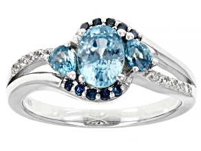 Blue Zircon Rhodium Over Sterling Silver Ring 1.80ctw