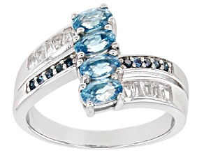 Blue Zircon Rhodium Over Sterling Silver Ring 1.58ctw