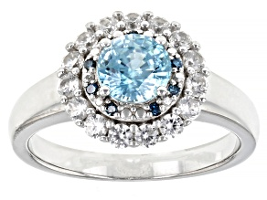 Blue Zircon Rhodium Over Sterling Silver Ring 1.63ctw