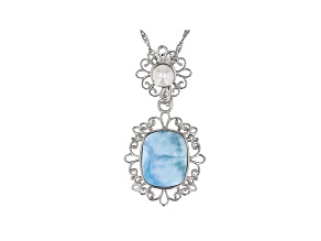 Blue Larimar Rhodium Over Silver Enhancer With Chain