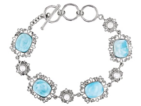 Blue Rectangular Cushion Larimar and Cultured  Freshwater Pearl Rhodium Over Silver Bracelet