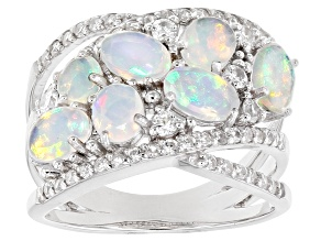 Multi-Color Ethiopian Opal Rhodium Over Silver Ring 1.98ctw