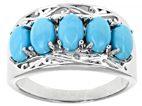 Blue Turquoise Rhodium Over Sterling Silver 5 Stone Band Ring