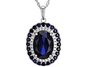 Blue Lab Created Sapphire Rhodium Over Silver Pendant With Chain 8.22ctw