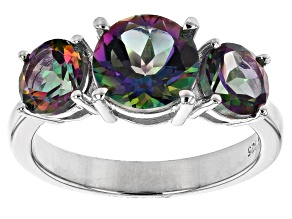 Mystic Fire(R) Green Topaz Rhodium Over Sterling Silver 3-Stone Ring 3.90ctw