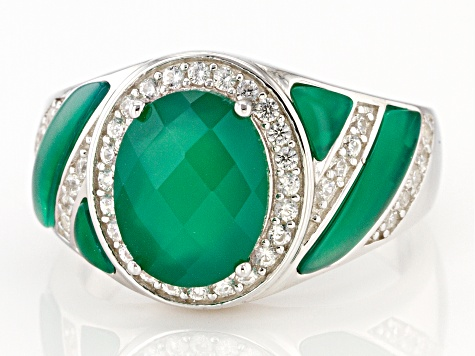 Green Onyx Rhodium Over Sterling Silver Ring 1.25ctw