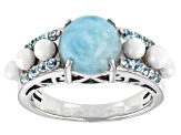 Blue Larimar Rhodium Over Sterling Silver Ring .37ctw