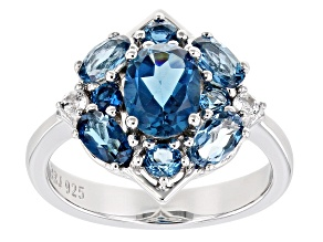 Blue Topaz Rhodium Over Sterling Silver Ring 2.97ctw