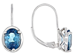 Oval London Blue Topaz Rhodium Over Sterling Silver Earrings 2.56ctw