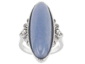 Blue Angelite Rhodium Over Sterling Silver Ring .07ctw