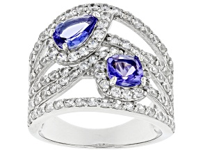 Blue Tanzanite Rhodium Over Sterling Silver Ring 2.74ctw