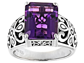 Purple Amethyst Rhodium Over Sterling Silver Solitaire Ring 3.67ct